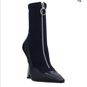 Versace Calfskin Leather Logo Zip Up Ankle Boots